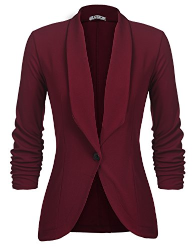 Beyove Women's 3/4 Ruched Sleeve Casual Office Jacket Slim Fit Blazer Coats Wine Red XL (Sleeve Ruched Blazer)