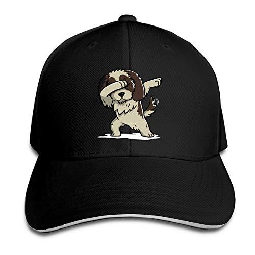 Unisex Dabbing Shih Tzu Cotton Baseball Hat Vintage Strapback Cap for Mens Womens Black