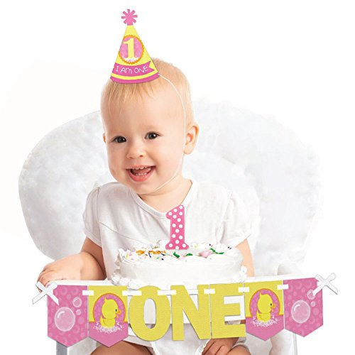 Big Dot of Happiness Pink Ducky Duck 1st Birthday - First Birthday Girl Smash Cake Decorating Kit - High Chair Decorations (Birthday Ducky Cake)