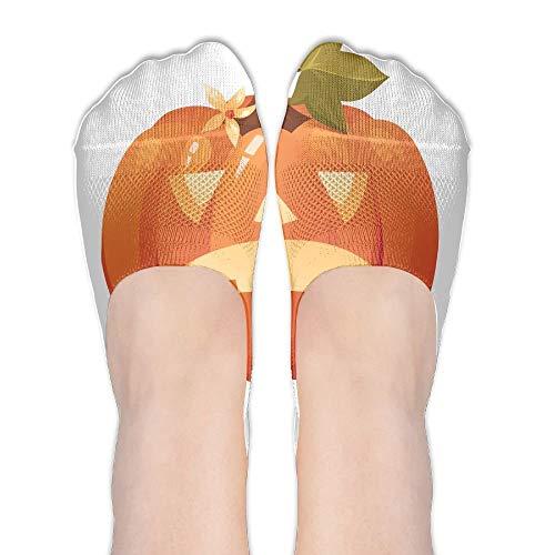 Halloween Pumpkin Unhappy Womens Low Cut Socks No Show Liner Boot Sock Athletic Socks Thin Fit -