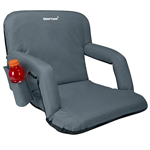 Driftsun Reclining Stadium Seat, Bleacher Chair with Back Support, Folding Sport Chair Reclines Perfect for Bleachers Lawns and Backyards, Grey