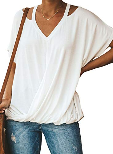 Criss Cross Knot - Happy Sailed Women Summer V Neck Shirts Casual Drape Tee Tops Short Sleeve Front Knot Basic Blouses Large White