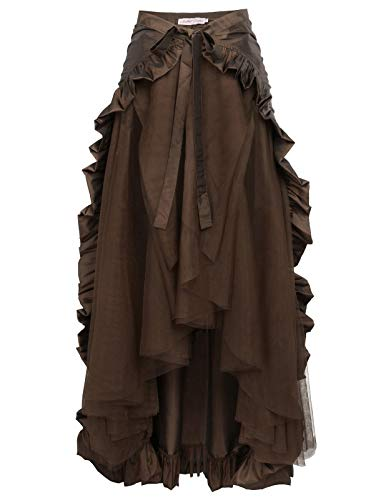 (Women Gothic Victorian Steampunk Skirt Bustle Style Pirate Costume XL Brown)