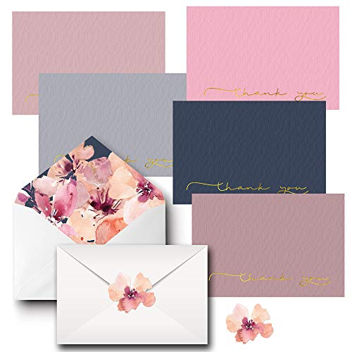 Thank You Cards - Includes 20 Bulk Blank Sets (5 Colors, 4 of each) on Linen Paper, Printed Envelopes and Matching Stickers - Greeting Cards Great for Baby Showers, Appreciation, Birthdays & Weddings (Decorative Cards)