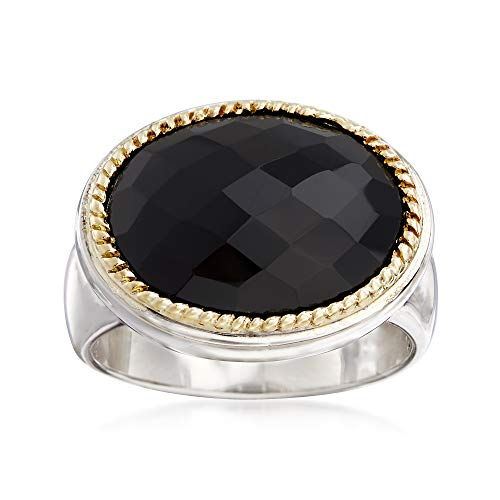 Ross-Simons Black Onyx Ring in Sterling Silver With 18kt Yellow Gold