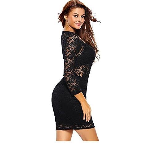 Vestidos De Fiesta De Encaje Negros Ropa De Moda 2017 Largos Cortos Sexys Para Mujer y Noche Elegantes Casuales VE0057 at Amazon Womens Clothing store: