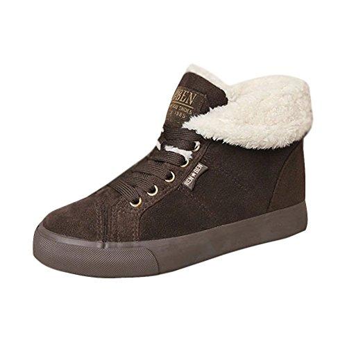 Minetom Flats Femme De Chaussures Snow Automne Bottines Footwear Chaudes Marron Hiver Chevalier Bottes Boots BnBwTYqr