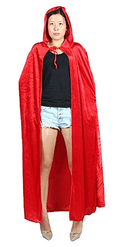 Urban CoCo Women's Costume Full Length Crushed Velvet Hooded Cape (red)