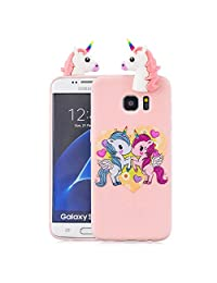 Soft Silicone Case for Samsung Galaxy S7 Edge,Aoucase Slim Thin 3D Animals Pattern Gel Rubber Drop Protection Protective Case with Black Dual-use Stylus,Cartoon Pony