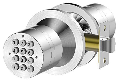 TurboLock TL-99 Bluetooth Smart Lock for Keyless Entry & Live Monitoring – Send & Delete eKeys w/App on Demand (Silver) (Renewed)