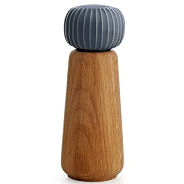 Kahler Hammershoi - Oak and Porcelain Pepper Mill / Pepper Grinder (Anthracite Gray)