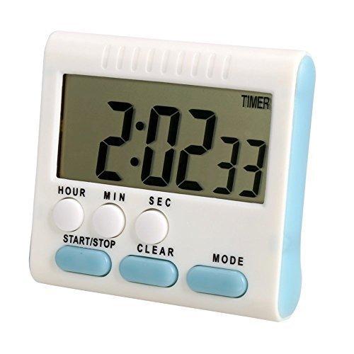 Reloj despertador de cocina digital con pantalla LCD grande (24 horas), color plateado: Amazon.es: Iluminación