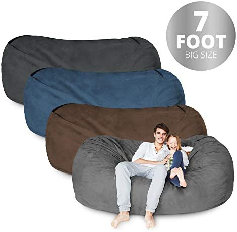Lumaland Bean Bag Chair 7 Foot Brown Microsuede Cover Machine Washable Big Size Sofa and Giant Lounger Furniture for Kids Teens and Adults