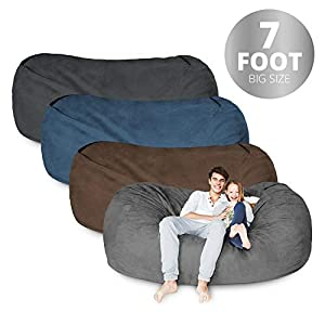 Bean Bag Chair | 3-Foot – 7 Foot & 6X Colors | Microsuede Cover Machine Washable Big Size Sofa and Giant Lounger Furniture for Kids Teens and Adults