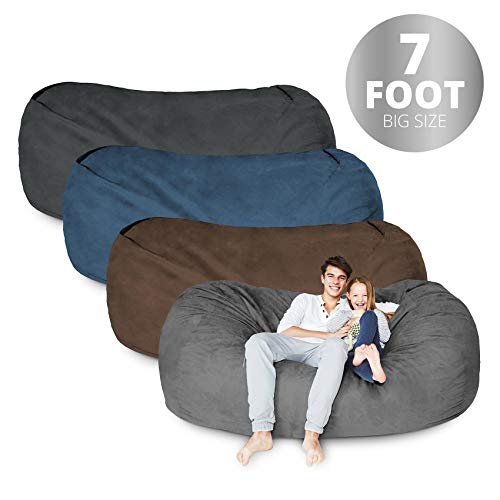 Bean Bag Chair | 7 Foot & Dark Grey | Microsuede Cover Machine Washable Big Size Sofa and Giant Lounger Furniture for Kids Teens and -