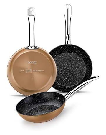 Monix Copper- Set sartenes efecto cobre 20-24-28 cm de aluminio forjado