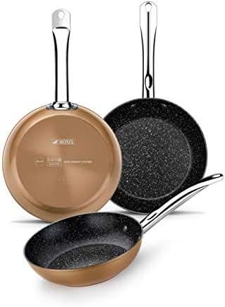 Monix Copper Effect 20-24-28cm Cast Aluminium Frying Pan Set with Non-Stick Titanium Particles - Suitable for All Cookers Including Induction - Copper