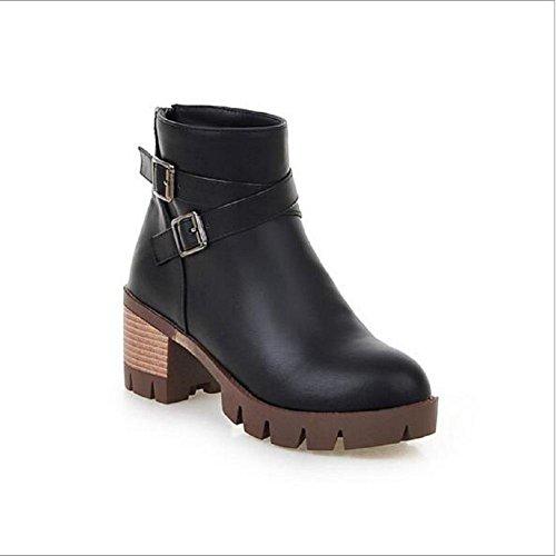 Hebilla de correa de tubo corto Martin botas botas de tacón alto grueso tacón botas suela gruesa zapatos femeninos desnudos black