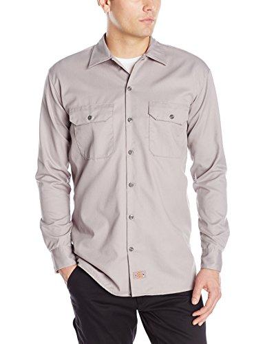 Dickies Men's Long Sleeve Work Shirt, Silver, - Utility Cotton Shirt