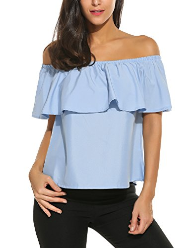 Sherosa Women's Casual Strapless Shirts Short Sleeve Crop Tops, Light Blue M