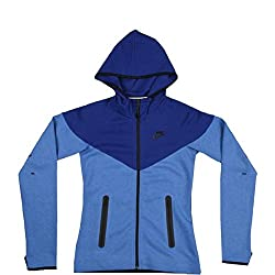 Nike Womens Tech Fleece full zip (Large, Royal Blue)