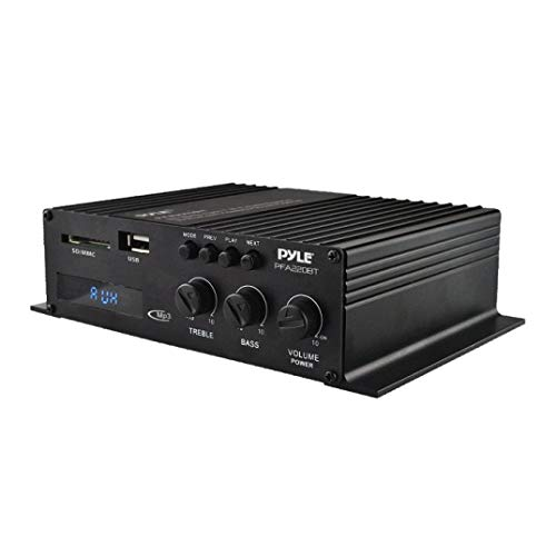 Pyle PFA220BT Class-T Bluetooth Power Audio Amplifier - 120W Mini Dual Channel Sound Stereo Receiver Box w/ USB, RCA, 12V Adapter - For Subwoofer Speaker, Home Theater, PA System, Studio Use - (Certif