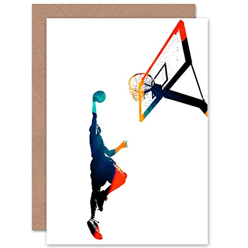 Wee Blue Coo Basketball Birthday Card - Slam Dunk