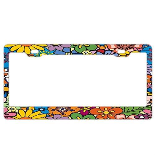 Bright Hippie Flower License Plate Frame Car Tag Holder Stainless Steel Metal License Plate Frame Humor