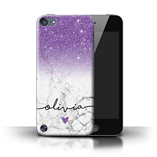 (Personalized Custom Handwriting Glitter Ombre Case for Apple iPod Touch 5 / Purple Sparkle White Marble Design/Initial/Name/Text DIY Cover)