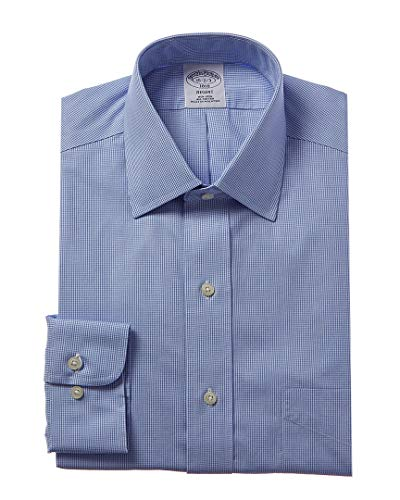Brooks Brothers Mens 1818 Regent Fit Dress Shirt, 15H 32/33, Blue