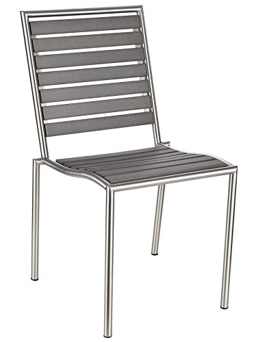 (Cortesi Home CH-DC700936 Tarou Stainless Steel Outdoor Chair in Slate Grey Poly Resin, Set of 2,)