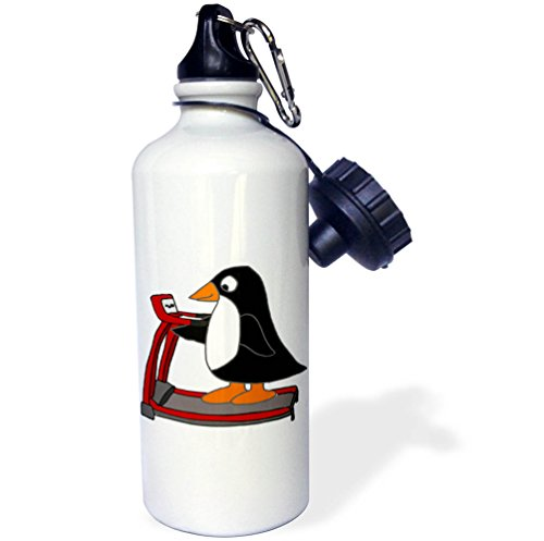 3dRose All Smiles Art Sports and Hobbies - Funny Cute Penguin on Treadmill Exercise Cartoon - 21 oz Sports Water Bottle (wb_263932_1) by 3dRose