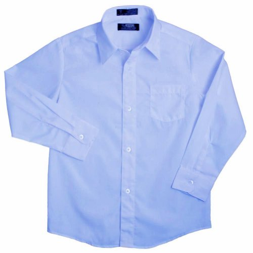 French Toast - Big Boys' Husky Long Sleeve Poplin Dress Shirt Style E9004, Light Blue 34148-20Husky
