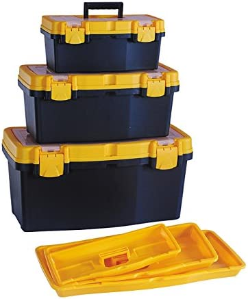 HL3078FGH GFORGE HL3078-Fhg Three Rugged S, M, L Tool Boxes In One with Transparent Internal Item Viewing Lid