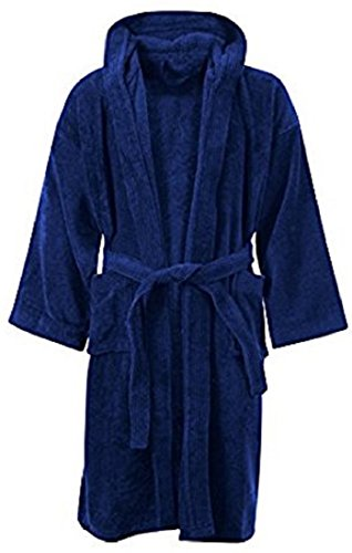 Kids Boys Girls Bathrobe 100% Egyptian Cotton Luxury Velour Towelling Hooded Dressing Gown Soft FINE Comfortable Nightwear Terry Towel Bath Robe Lounge WEAR Housecoat (10-12 Years, Navy)