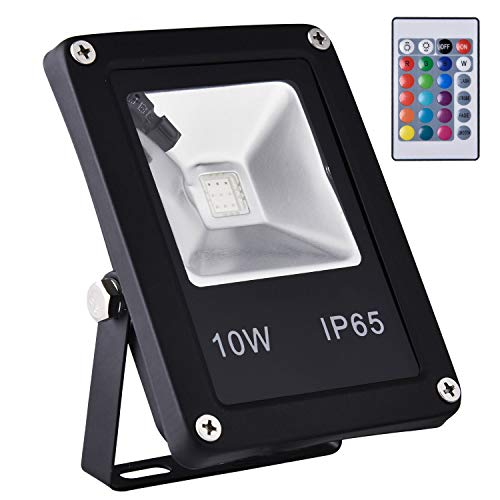 Bellanny 10W RGB LED Outdoor Flood Lights,IP65 Waterproof,16 Color Changing, 4 Lighting Modes, Plug in Security Floodlights with Remote Control, for Home, Backyard, Patio, Garage,Tree