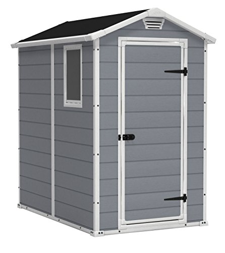 KETER Manor 4x6 Resin Outdoor Shed Kit for Garden, Patio Furniture, and Bike Storage, Grey, 4 by 6, Gray/White (Home Depot Furniture Yard)