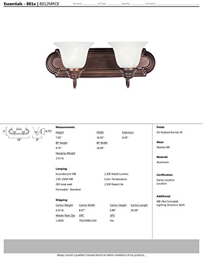Maxim 8012MROI Essentials 2-Light Bath Vanity Wall Sconce, Oil Rubbed Bronze Finish, Marble Glass, MB Incandescent Incandescent Bulb , 60W Max., Dry Safety Rating, Standard Dimmable, Imitation Silk Shade Material, Rated Lumens by Maxim Lighting (Image #1)