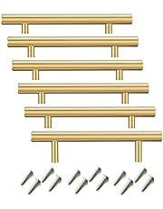 BOZONLI Schuifladenknop, Meubelgreep, Kastdeurknoppen, Roestvrij Staal T-balk, 64-128mm, Gouden, 6 Stuks