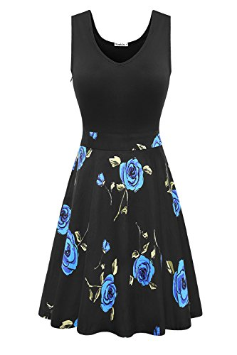 Yomilin Women's Casual Sleeveless V Neck Flare Floral Mini Party Dress Flower-05 (Floral Cotton Mini Skirt)