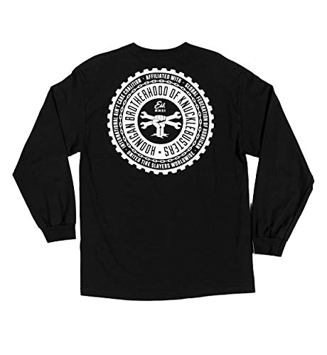 Hoonigan Brotherhood V2 Long Sleeve Shirt - 100% Cotton - Best Cool Graphic Tee for Mechanics, Gear-Heads, Car Truck Motorcycle Enthusiasts, Drifting, Race-Car Sports Fans Gift for Him