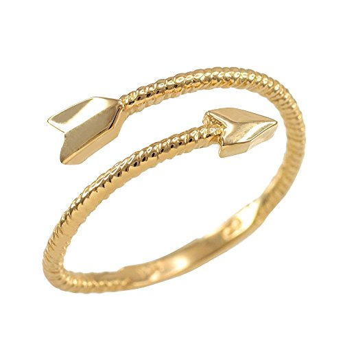 (Modern Contemporary Rings 10k Yellow Gold Twisted Rope Band Double Arrow Wrap Ring (Size 7))