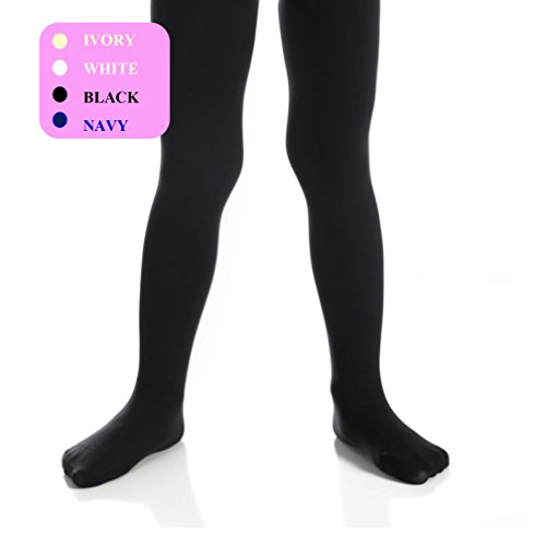 Top Fit Girls Tights - Kids Opaque, Microfiber Tights - Dance, School, Uniform - Black, White, Navy, and Ivory (Black, 8-10) -