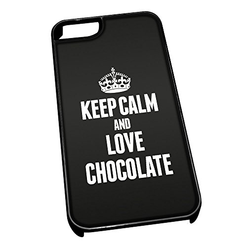 Nero cover per iPhone 5/5S 0956 nero Keep Calm and Love Chocolate