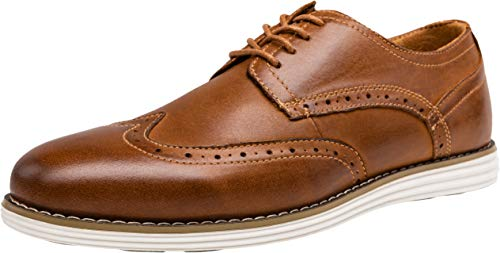 VOSTEY Men's Dress Shoes Leather Brogue Wingtip Oxford Shoes (10,Yellow Brown) Brown Leather Comfort Shoes