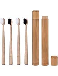 Natrual Bamboo Toothbrush with Travel Holder Charcoal Toothbrush Set BPA-Free Nylon Medium Bristles 2 Soft + 2 Hard Wooden Toothbrush Organic Biodegradable Eco-Friendly for Sensitive Gums