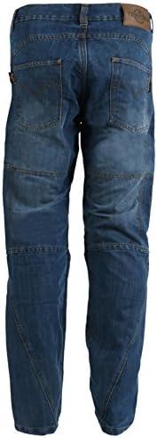 Texpeed - Herren Motorradhose im Cargo-Jeans-Design - Kevlar-verstärkt - Blue Washed - Größe W32'' L29''