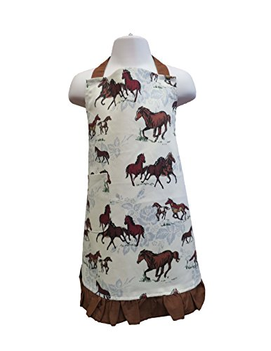 Apron Horse (Fluffy Layers Kids Baking / Kitchen Apron Multiple Sizes and Prints (Small, Horses))