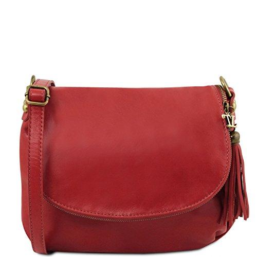 Tuscany Leather TLBag Sac bandoulière Besace en Cuir Souple avec Pompon Rouge Lipstick Rouge
