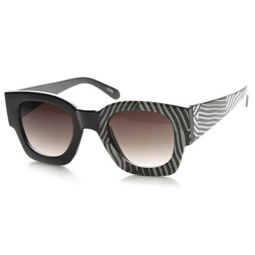 zeroUV - Half Print One Side Graphic Bold Rim Square Horn Rimmed Sunglasses (Zebra)